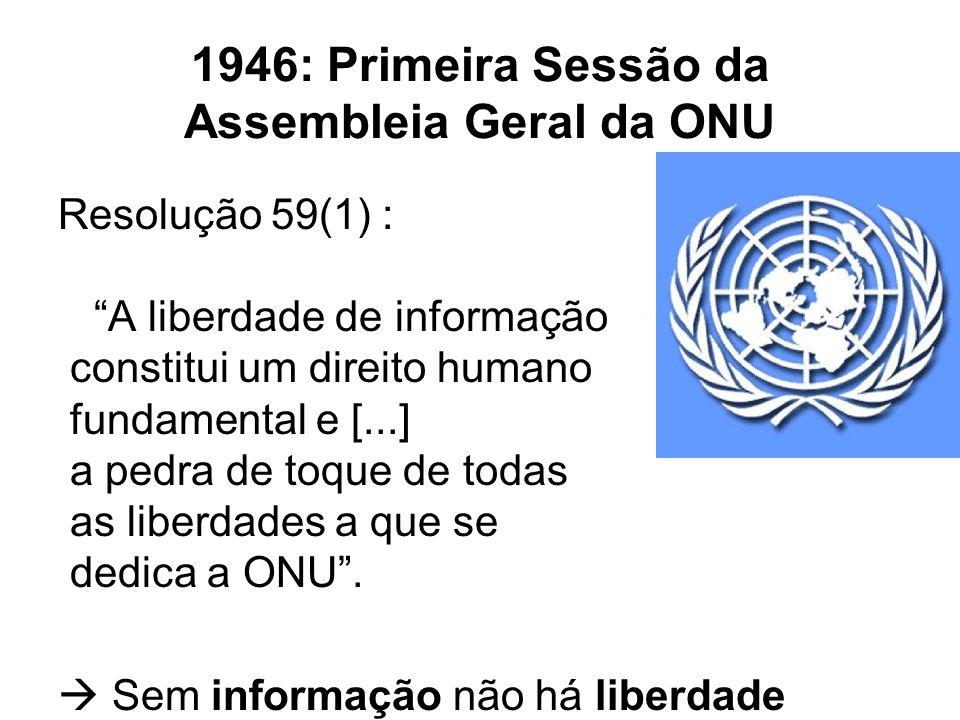 1946: Primeira Sessão da Assembleia Geral da ONU