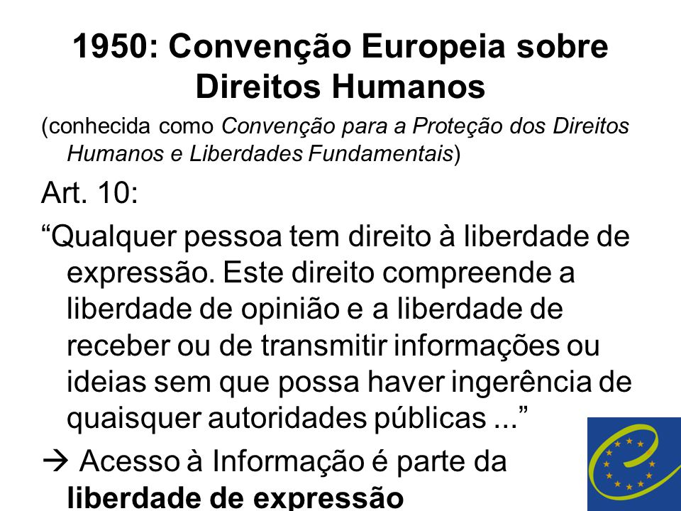 1950: Convenção Europeia sobre Direitos Humanos