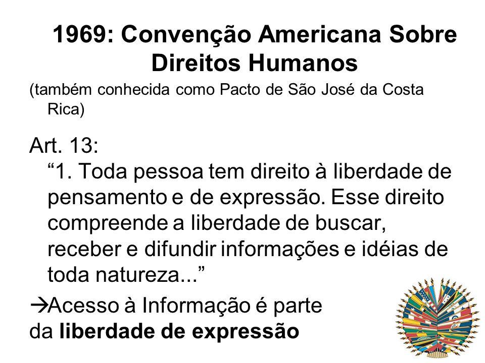 1969: Convenção Americana Sobre Direitos Humanos