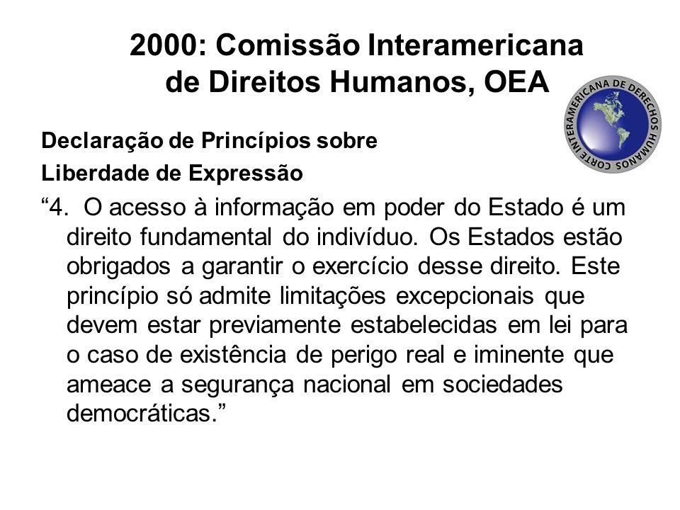 2000: Comissão Interamericana de Direitos Humanos, OEA