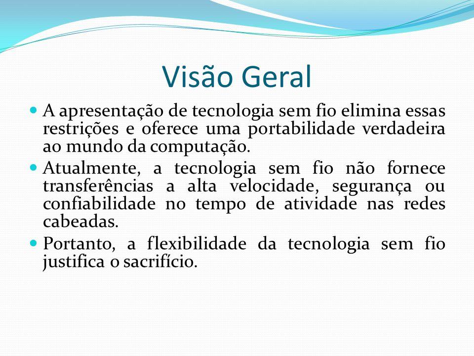 Visão Geral A apresentação de tecnologia sem fio elimina essas restrições e oferece uma portabilidade verdadeira ao mundo da computação.