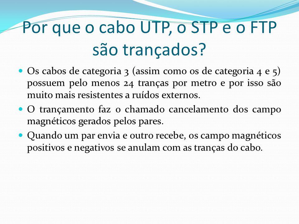 Por que o cabo UTP, o STP e o FTP são trançados