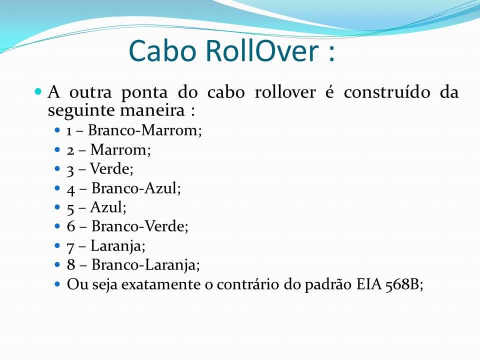 Cabo RollOver : A outra ponta do cabo rollover é construído da seguinte maneira : 1 – Branco-Marrom;