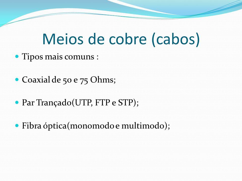 Meios de cobre (cabos) Tipos mais comuns : Coaxial de 50 e 75 Ohms;