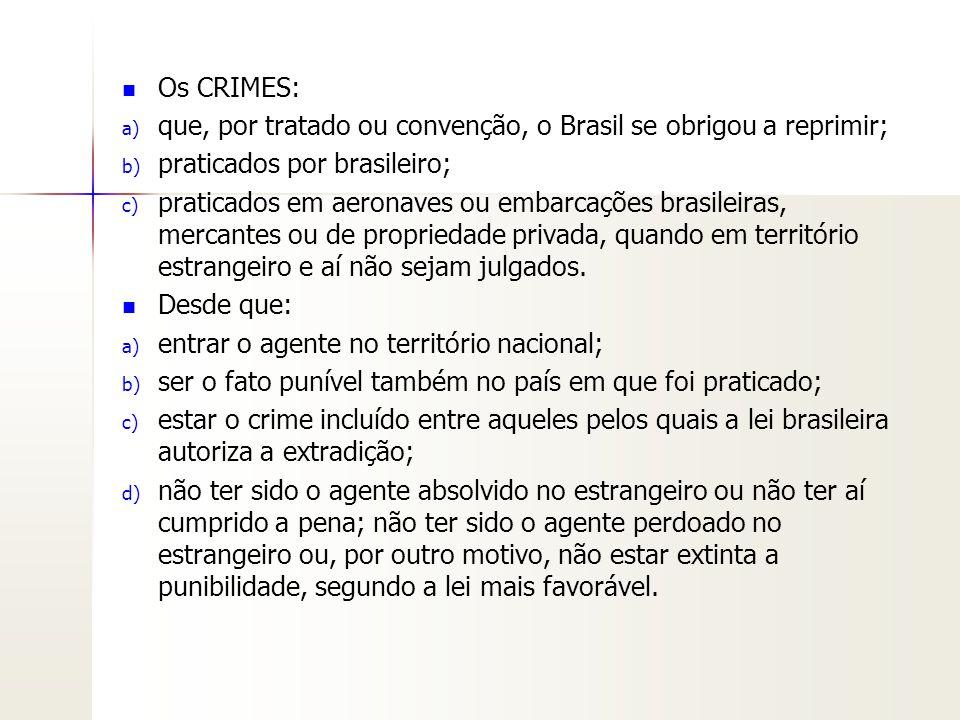 Os CRIMES: que, por tratado ou convenção, o Brasil se obrigou a reprimir; praticados por brasileiro;