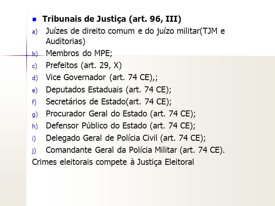 Tribunais de Justiça (art. 96, III)