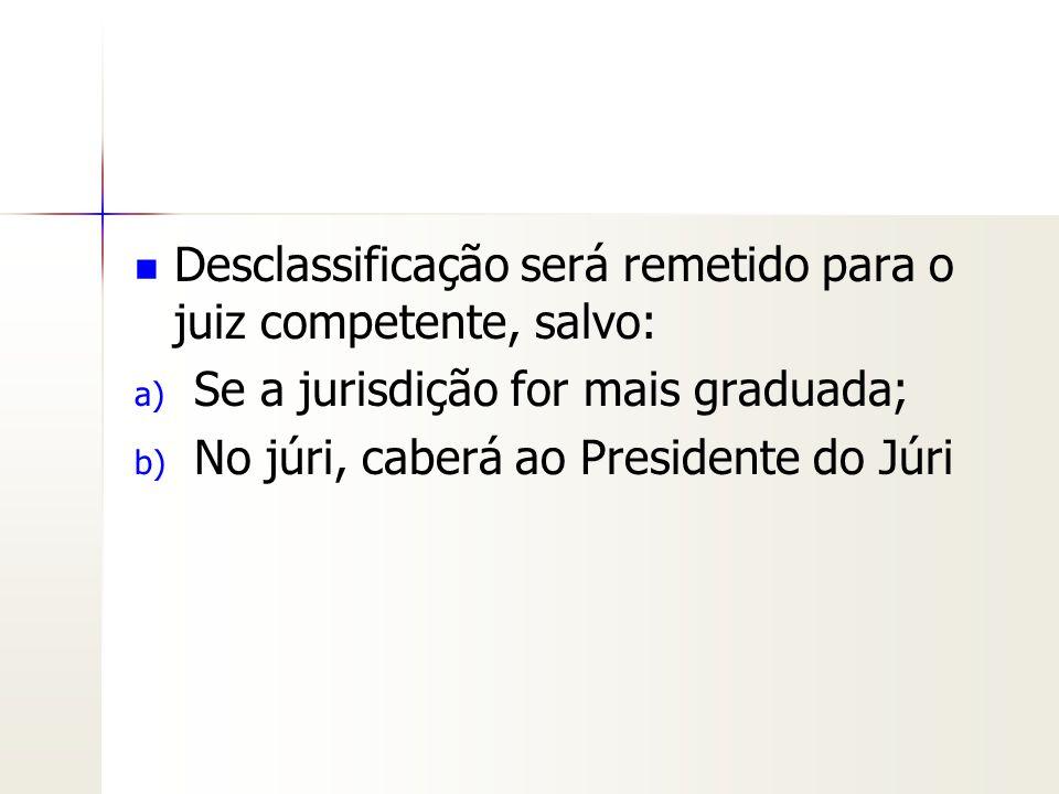 Desclassificação será remetido para o juiz competente, salvo:
