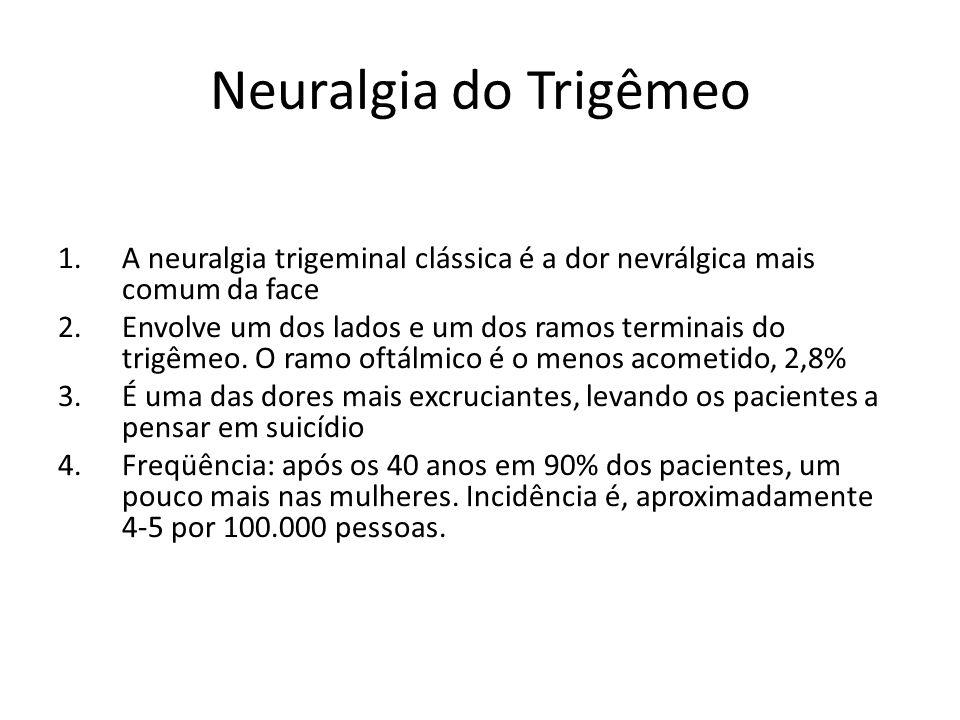 Neuralgia do Trigêmeo A neuralgia trigeminal clássica é a dor nevrálgica mais comum da face.