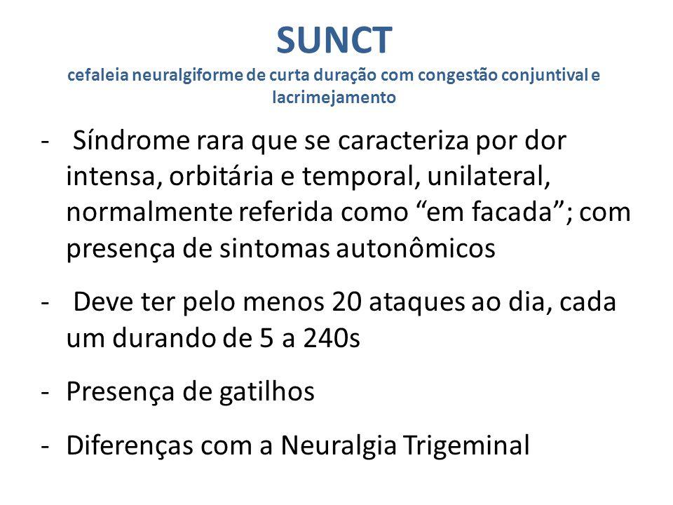 SUNCT cefaleia neuralgiforme de curta duração com congestão conjuntival e lacrimejamento
