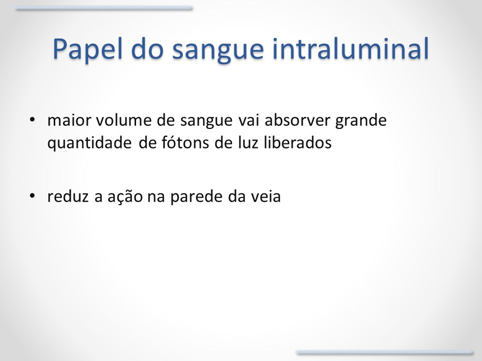 Papel do sangue intraluminal