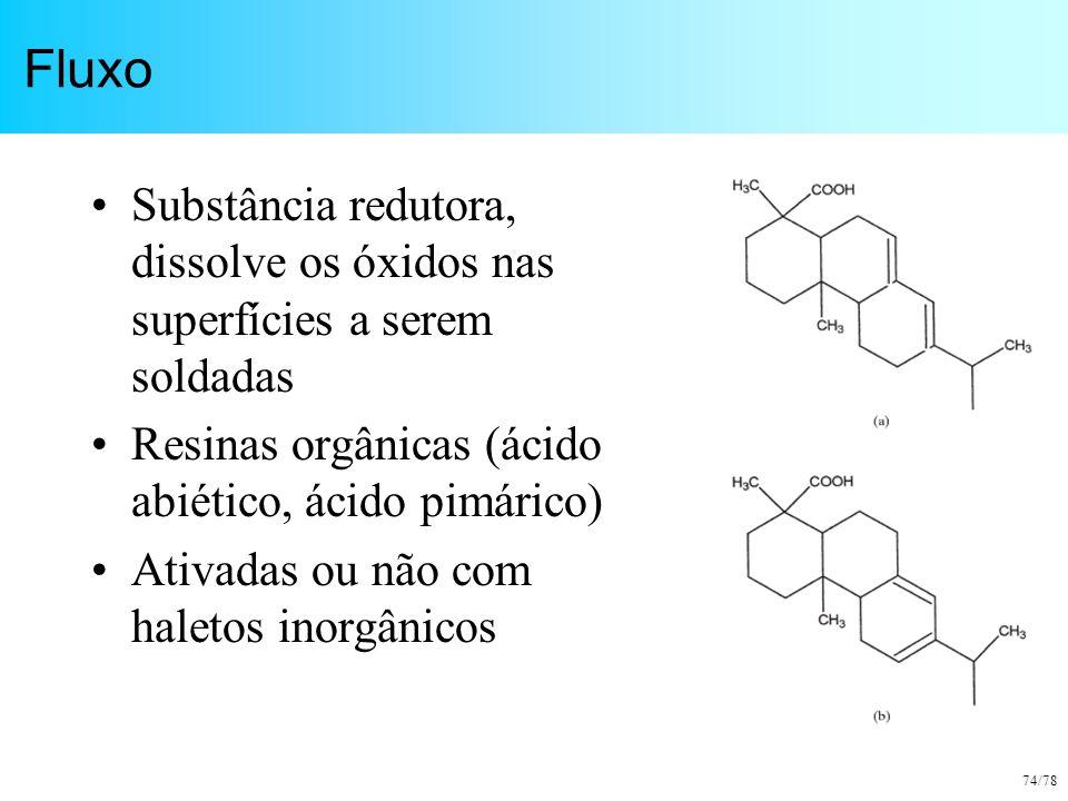 Fluxo Substância redutora, dissolve os óxidos nas superfícies a serem soldadas. Resinas orgânicas (ácido abiético, ácido pimárico)