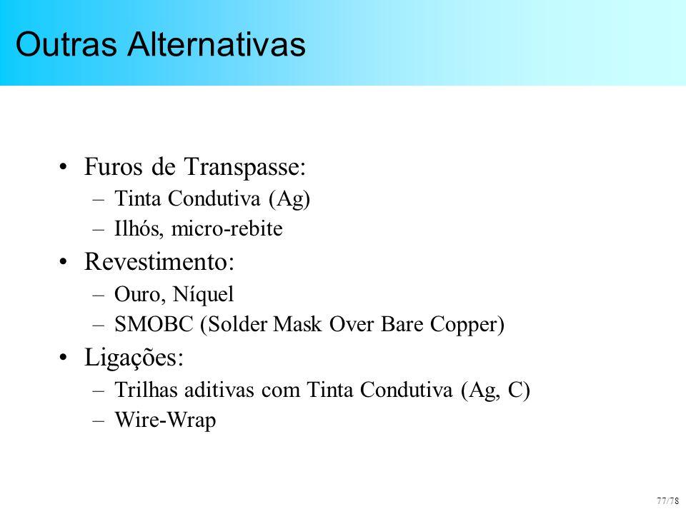 Outras Alternativas Furos de Transpasse: Revestimento: Ligações: