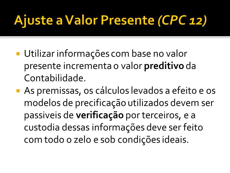 Ajuste a Valor Presente (CPC 12)