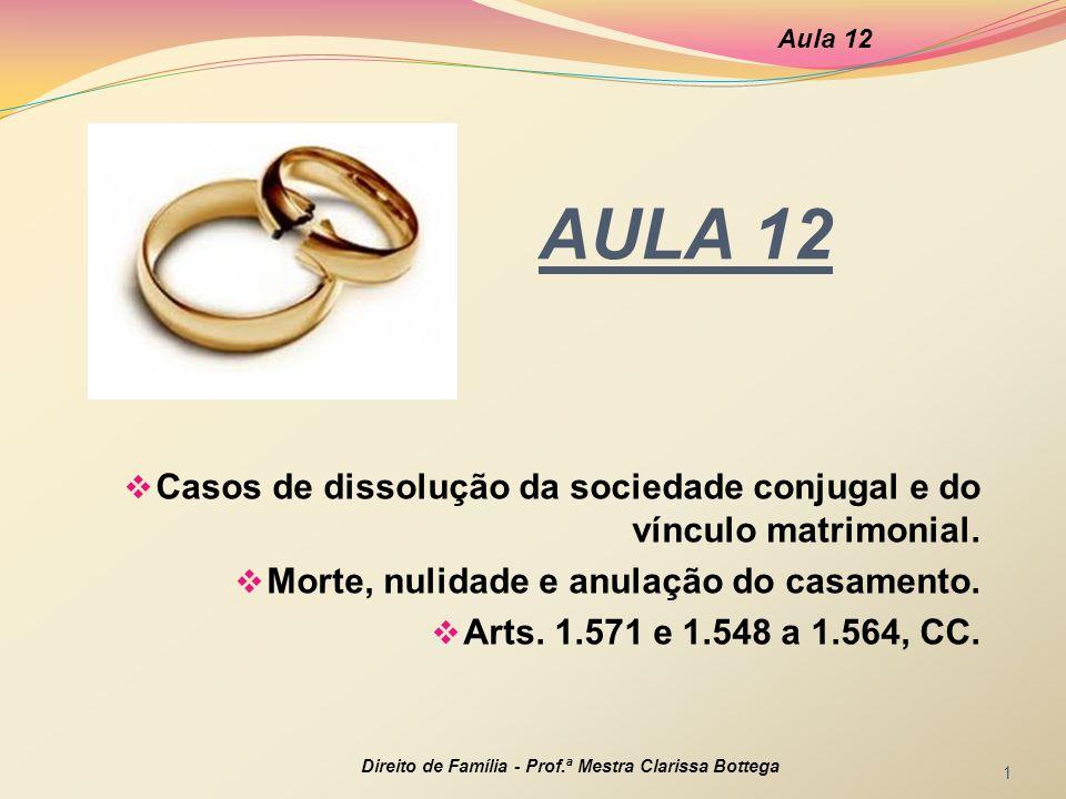 Aula 12 AULA 12. Casos de dissolução da sociedade conjugal e do vínculo matrimonial. Morte, nulidade e anulação do casamento.
