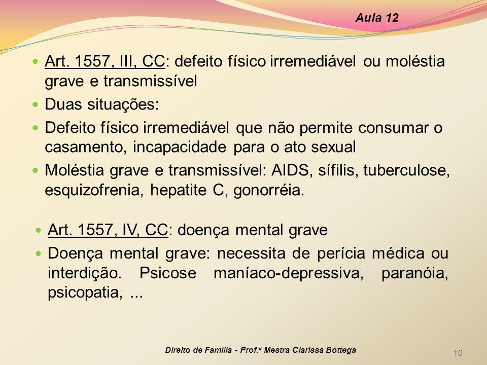 Art. 1557, IV, CC: doença mental grave