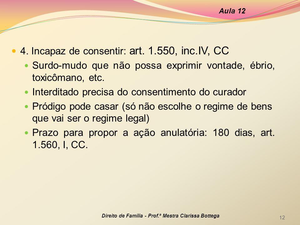 4. Incapaz de consentir: art. 1.550, inc.IV, CC