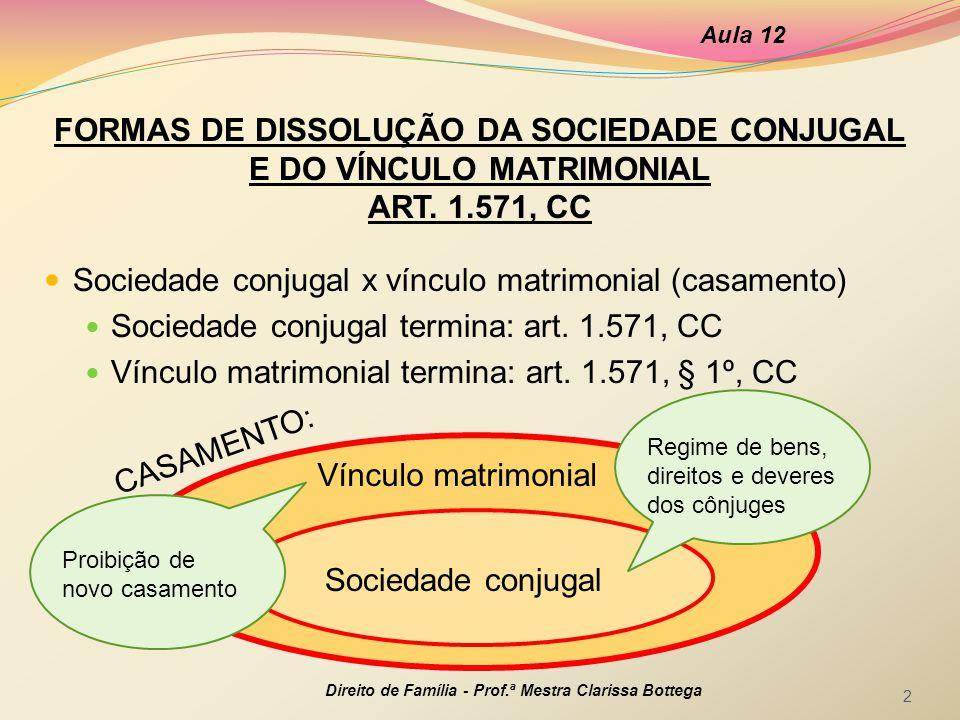 FORMAS DE DISSOLUÇÃO DA SOCIEDADE CONJUGAL E DO VÍNCULO MATRIMONIAL