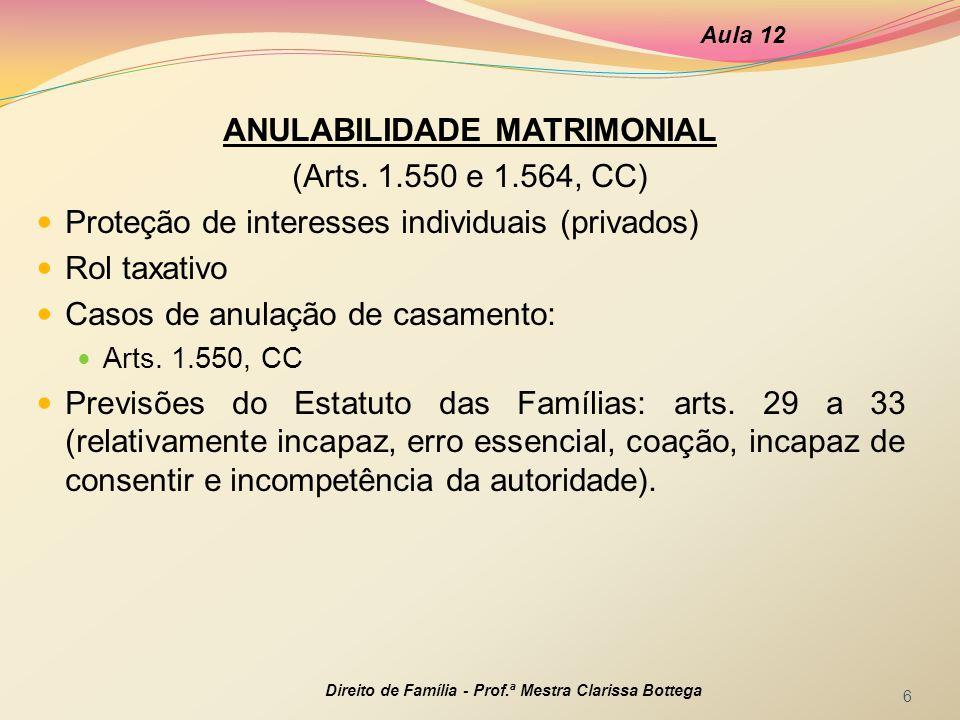 ANULABILIDADE MATRIMONIAL