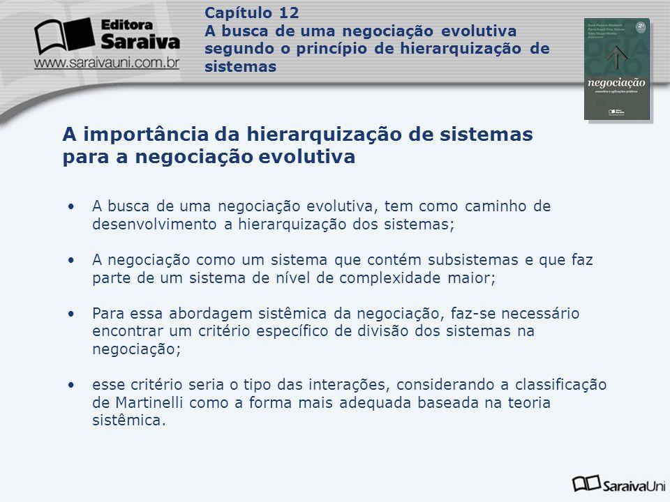 Capítulo 12 A busca de uma negociação evolutiva segundo o princípio de hierarquização de sistemas. Capa.