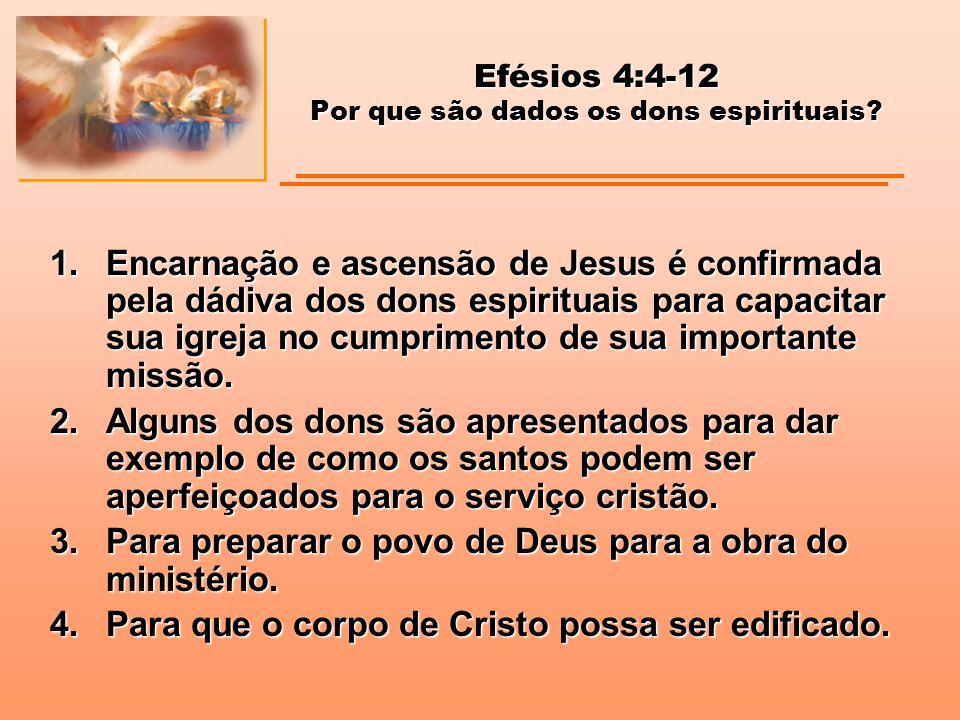 Efésios 4:4-12 Por que são dados os dons espirituais