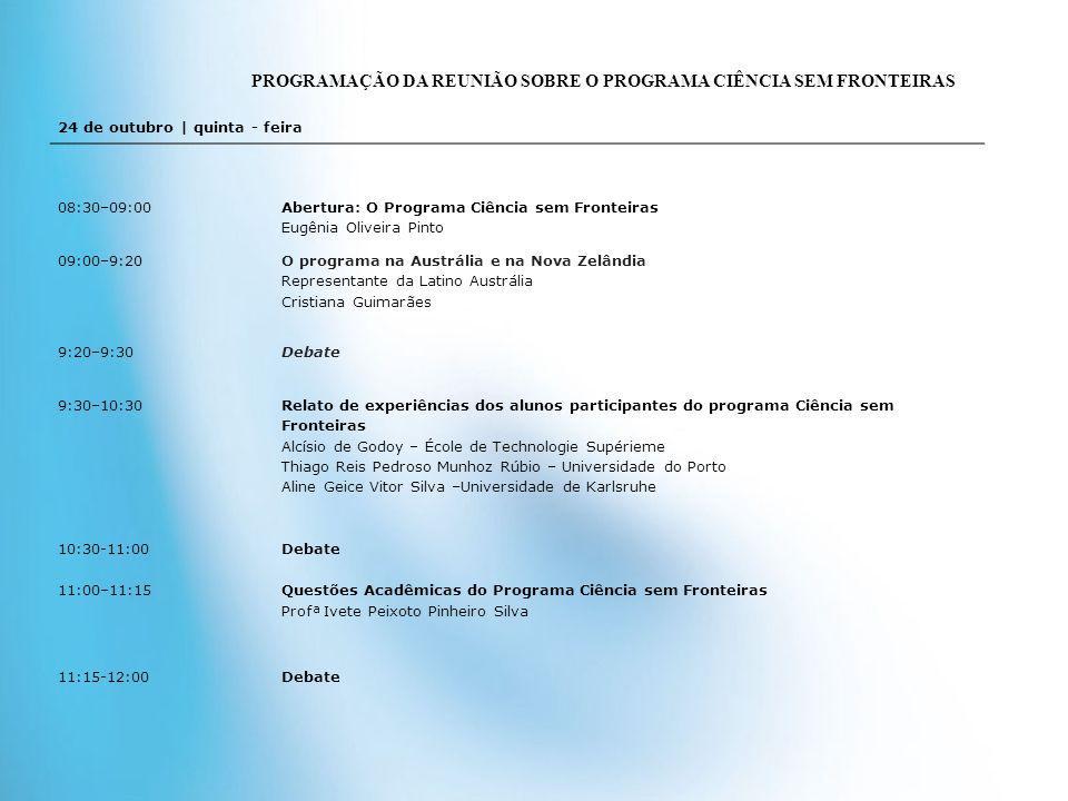 PROGRAMAÇÃO DA REUNIÃO SOBRE O PROGRAMA CIÊNCIA SEM FRONTEIRAS