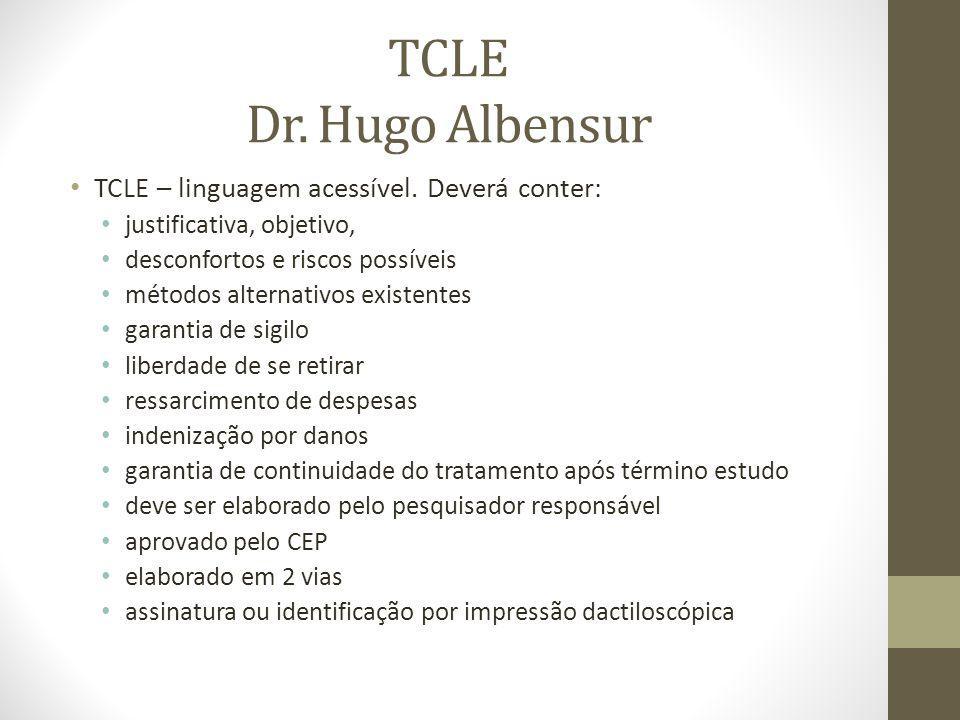 TCLE Dr. Hugo Albensur TCLE – linguagem acessível. Deverá conter: