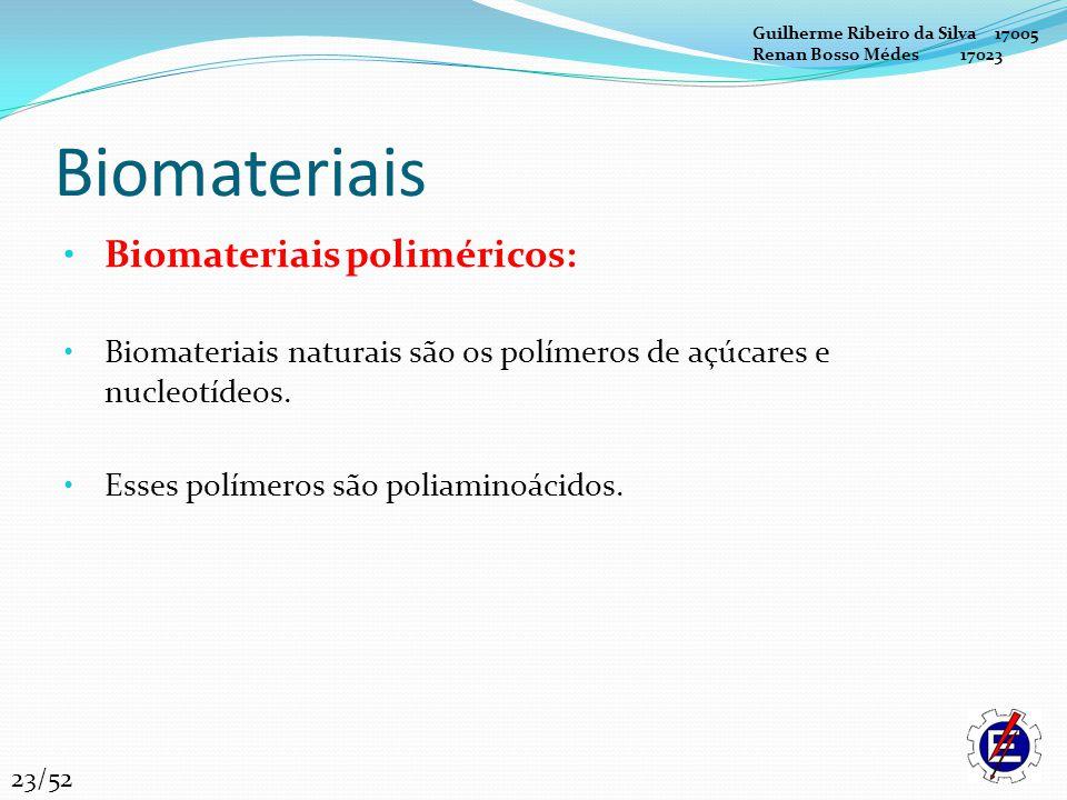 Biomateriais Biomateriais poliméricos: