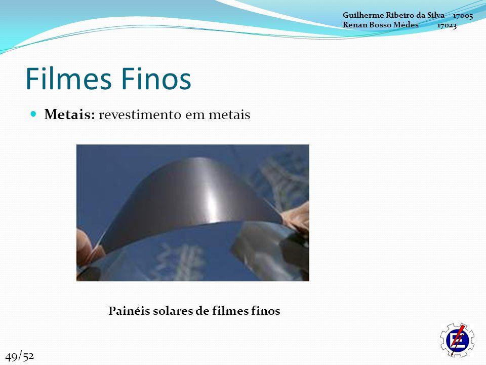 Filmes Finos Metais: revestimento em metais