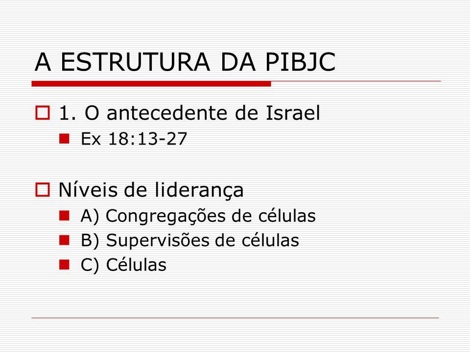 A ESTRUTURA DA PIBJC 1. O antecedente de Israel Níveis de liderança
