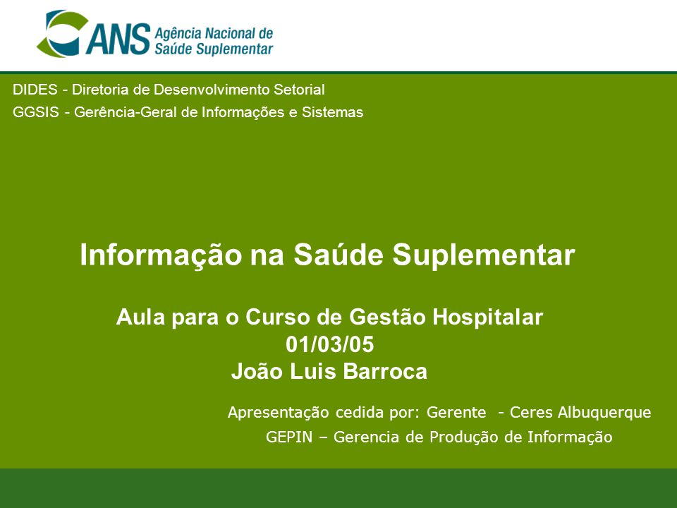 Informação na Saúde Suplementar