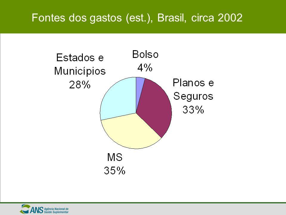 Fontes dos gastos (est.), Brasil, circa 2002