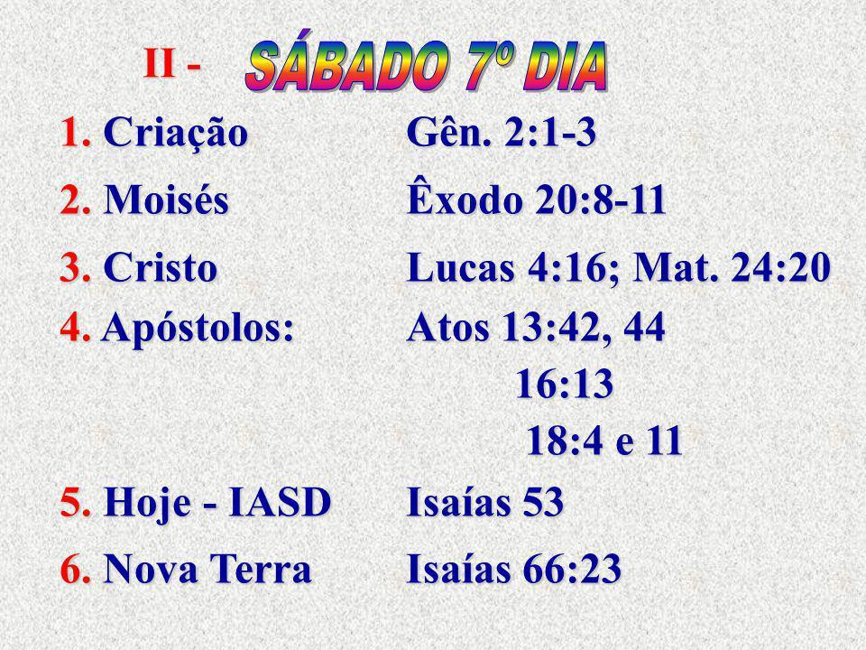II - SÁBADO 7º DIA. 1. Criação Gên. 2:1-3. 2. Moisés Êxodo 20:8-11. 3. Cristo Lucas 4:16; Mat. 24:20.