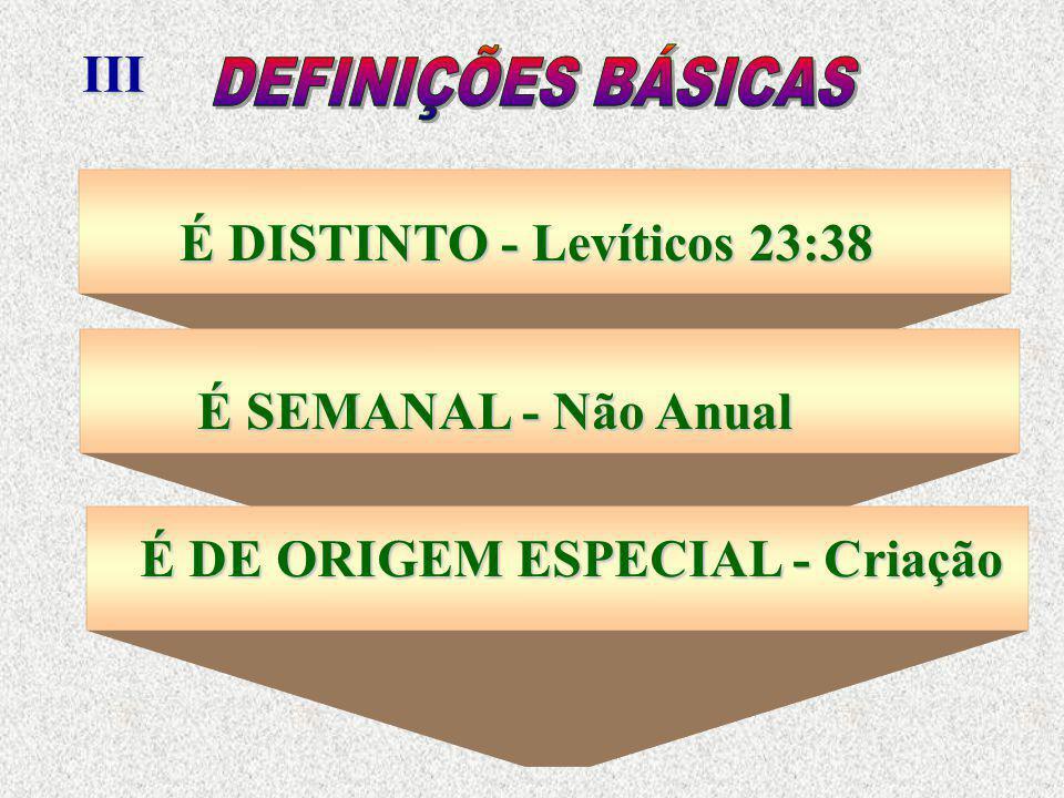 III DEFINIÇÕES BÁSICAS. É DISTINTO - Levíticos 23:38.