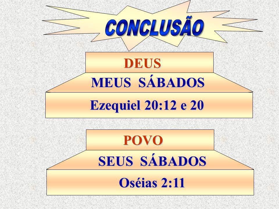 CONCLUSÃO DEUS MEUS SÁBADOS Ezequiel 20:12 e 20 POVO SEUS SÁBADOS Oséias 2:11