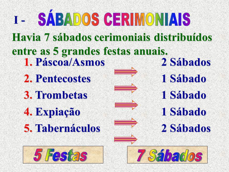 I - SÁBADOS CERIMONIAIS. Havia 7 sábados cerimoniais distribuídos entre as 5 grandes festas anuais.