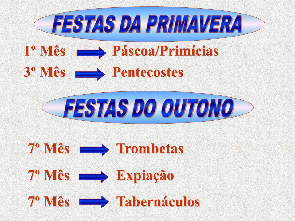 FESTAS DA PRIMAVERA 1º Mês Páscoa/Primícias. 3º Mês Pentecostes. FESTAS DO OUTONO. 7º Mês Trombetas.