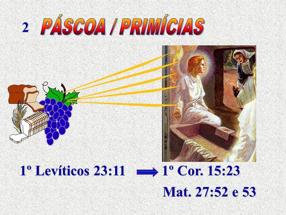 2 PÁSCOA / PRIMÍCIAS 1º Levíticos 23:11 1º Cor. 15:23 Mat. 27:52 e 53