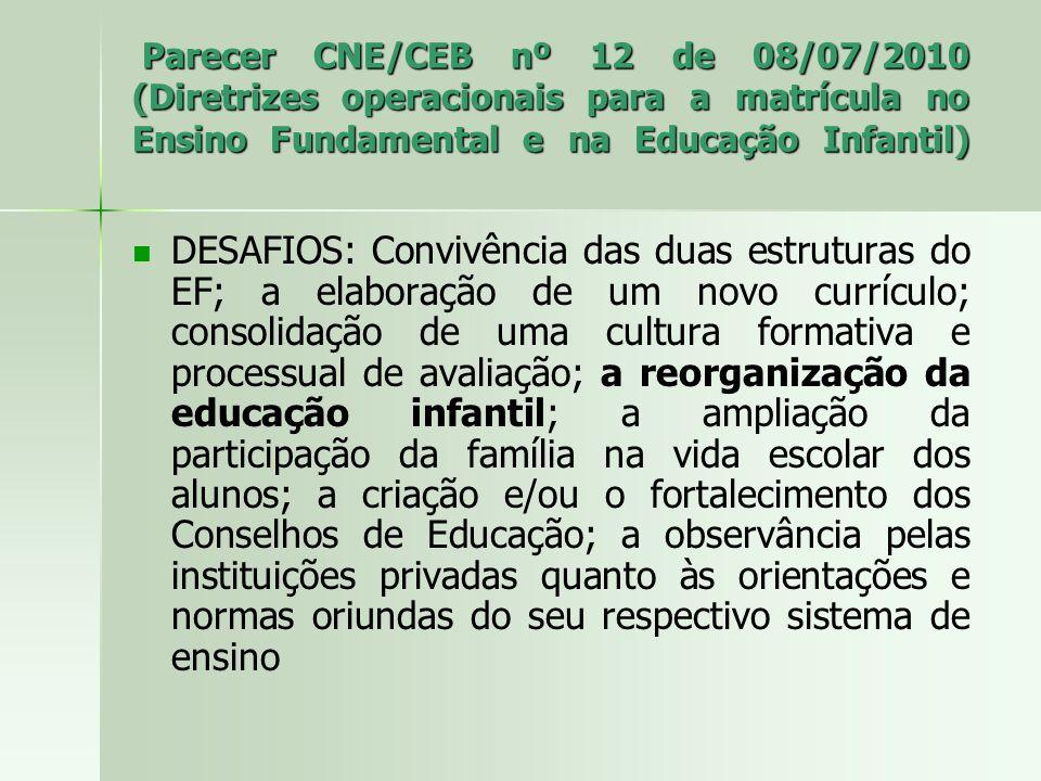 Parecer CNE/CEB nº 12 de 08/07/2010 (Diretrizes operacionais para a matrícula no Ensino Fundamental e na Educação Infantil)