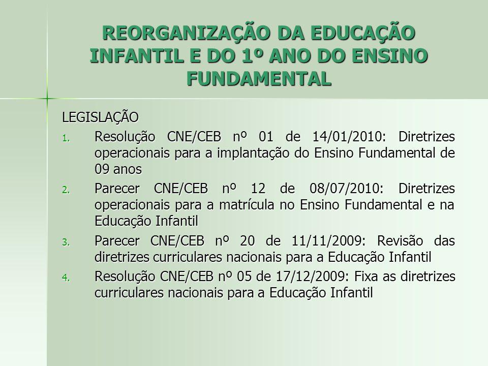 REORGANIZAÇÃO DA EDUCAÇÃO INFANTIL E DO 1º ANO DO ENSINO FUNDAMENTAL