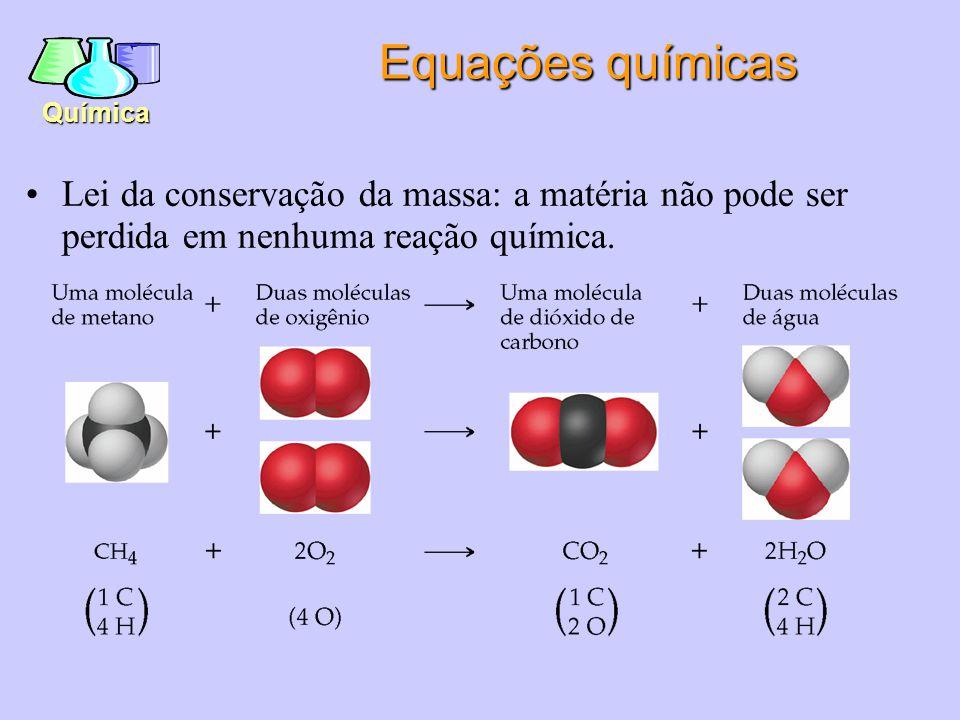Equações químicas Lei da conservação da massa: a matéria não pode ser perdida em nenhuma reação química.