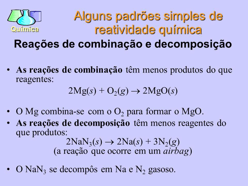 Alguns padrões simples de reatividade química