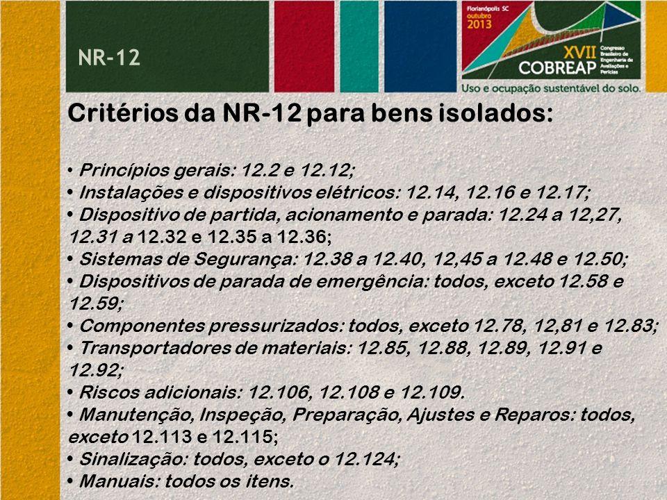 Critérios da NR-12 para bens isolados: