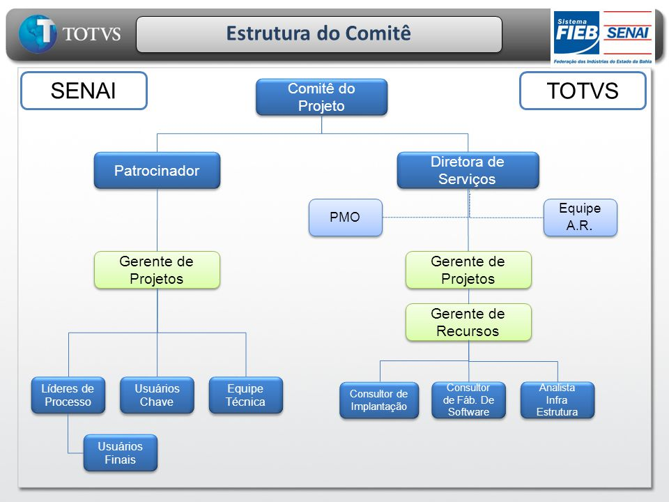 Estrutura do Comitê SENAI TOTVS Comitê do Projeto Patrocinador