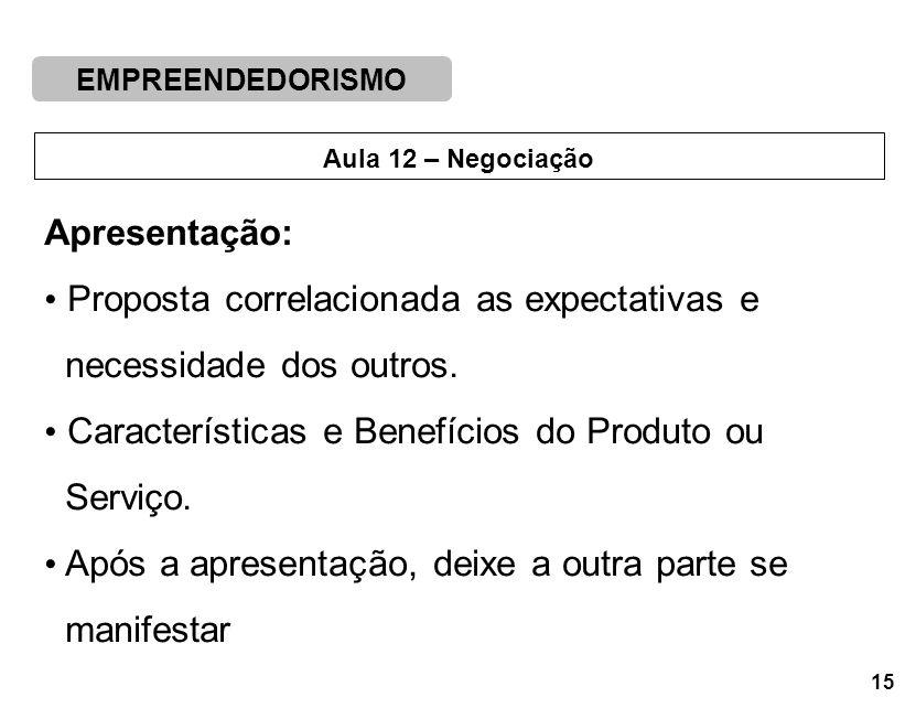 Apresentação: Proposta correlacionada as expectativas e. necessidade dos outros. Características e Benefícios do Produto ou.