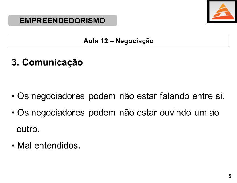 3. Comunicação Os negociadores podem não estar falando entre si.