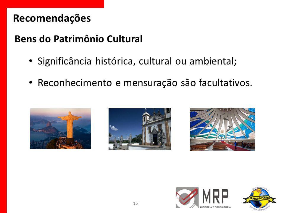 Recomendações Bens do Patrimônio Cultural