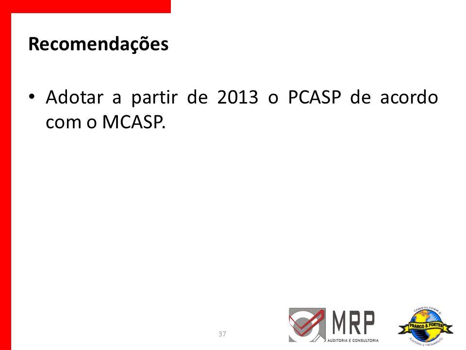 Recomendações Adotar a partir de 2013 o PCASP de acordo com o MCASP.