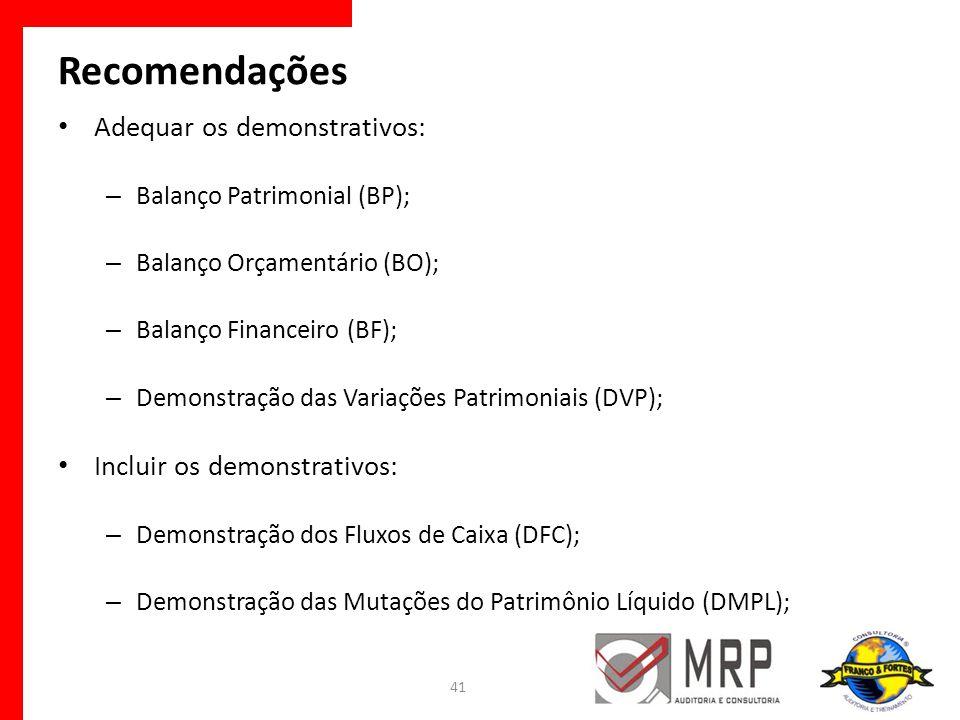 Recomendações Adequar os demonstrativos: Incluir os demonstrativos: