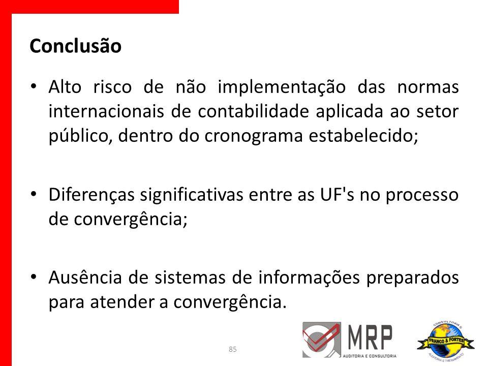 Conclusão Alto risco de não implementação das normas internacionais de contabilidade aplicada ao setor público, dentro do cronograma estabelecido;