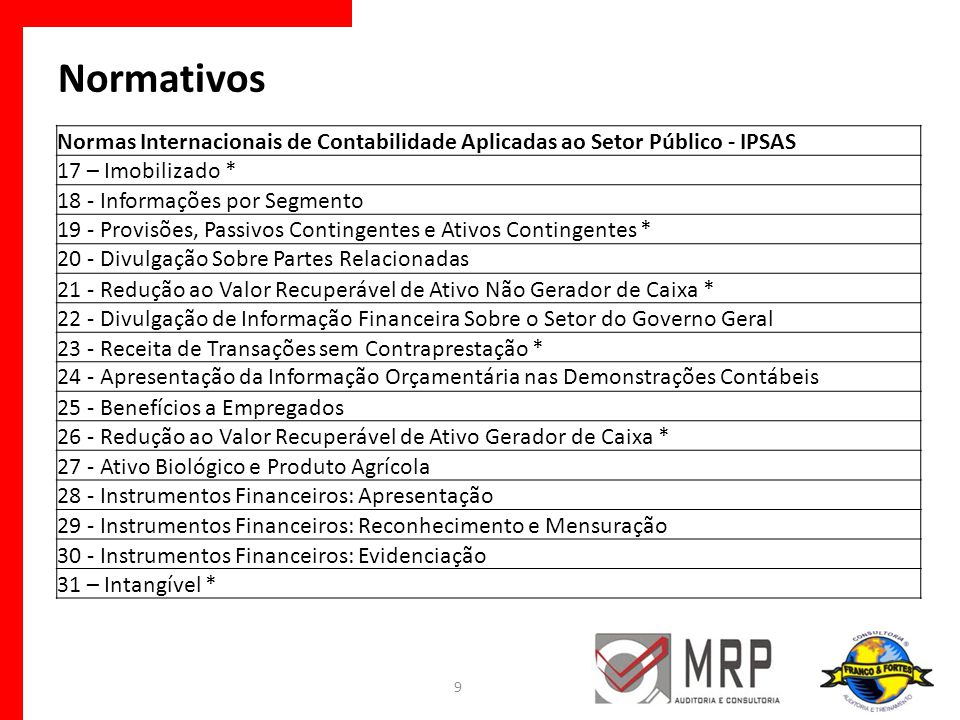 Normativos Normas Internacionais de Contabilidade Aplicadas ao Setor Público - IPSAS. 17 – Imobilizado *